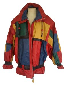 G3 Color-blocking red, blue, yellow, green, black Leather Jacket
