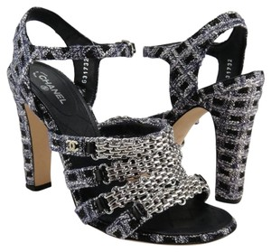 Chanel Tweed Tweed Chain blue and dark gray Sandals