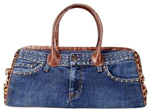 Clever Carriage Company Satchel in Blue And Cognac