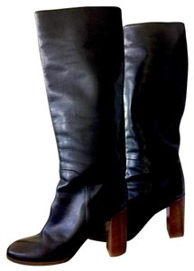 Céline Celine Black with Brown Wood Heel Boots