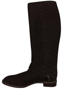 Stuart Weitzman Quilted Suede Riding Brown Boots