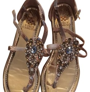 Vince Camuto Embellished Gemstones Leather Snakeskin Jeweled Beige Sandals