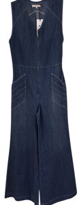 7 For All Mankind Sexy Denim Jumpsuit Classy Designer Trouser/Wide Leg Jeans-Medium Wash