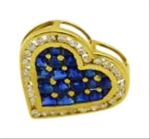 Bullion & Diamond Co. Sapphire and Diamond, 14k Gold Heart Pendant, Multi-Color Jewelry