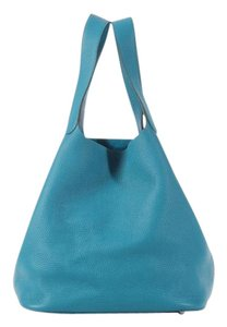 Hermès Blue Hr.k0726.03 Tgm Clemence Leather Tote