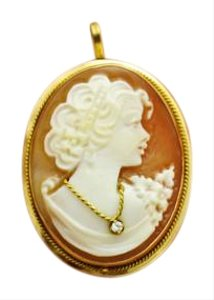 Antique Cameo Pendant Brooch, 14K Yellow Italian Gold, Jewelry