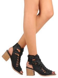 Qupid Strappy Ankle Black Boots