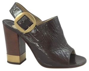 Chloé Patent Leather Brown Sandals