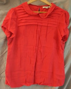 Boden Cap Sleeves Peter Pan Collar Button Closure T-shirt Top Red/orange