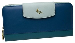 Mads Boutique women's blue leather travel wallet & passport holder