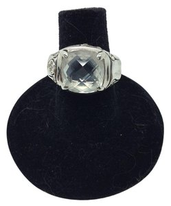 John Hardy size 6, sterling silver, 3.00 TCW white topaz, solitaire ring