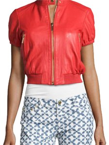 Michael Kors Leather Short Sleeved Red Leather Jacket