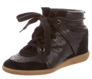 Isabel Marant Leather Suede Classic Casual Black Wedges