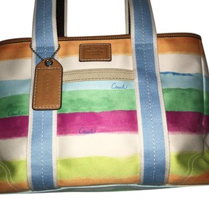 Coach Satchel in Multi Pastel Striped