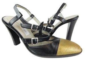 diana broussard Leather Gold Buckles Heels Black/Gold Pumps