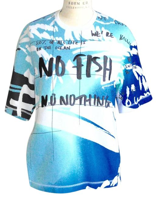 0ac3ab90e31b6 Kenzo 'no Fish, No Nothing' Runway Collection Cotton T Shirt Blue, White