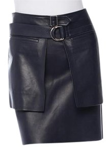Céline Leather Leather Mini Skirt Navy lambskin