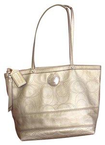 Coach Leather Signature Tote in Bronze