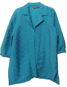 Chico's Travelers Long Jacket Pleated 3 Xl Aqua Blue Blazer
