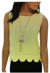 The Limited Plus-size Crepe Scalloped Top Yellow