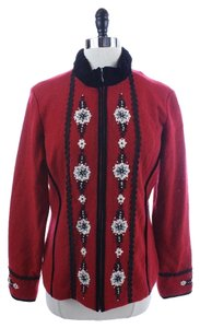 Icelandic Design Wool Embroidered Zip Up Jacket RED AND BLACK Blazer