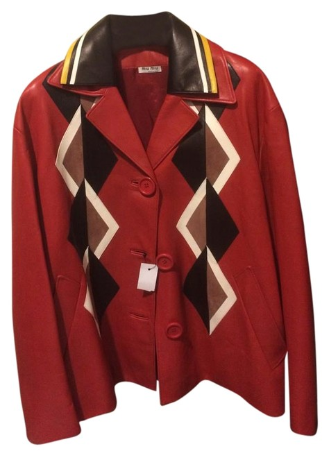 Miu Miu Red Oversized Appliqued Jacket Size 4 (S) Miu Miu Red Oversized Appliqued Jacket Size 4 (S) Image 1