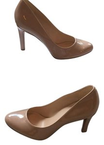 Nine West Neutral Stiletto Patent Leather Round Toe Nude Pumps