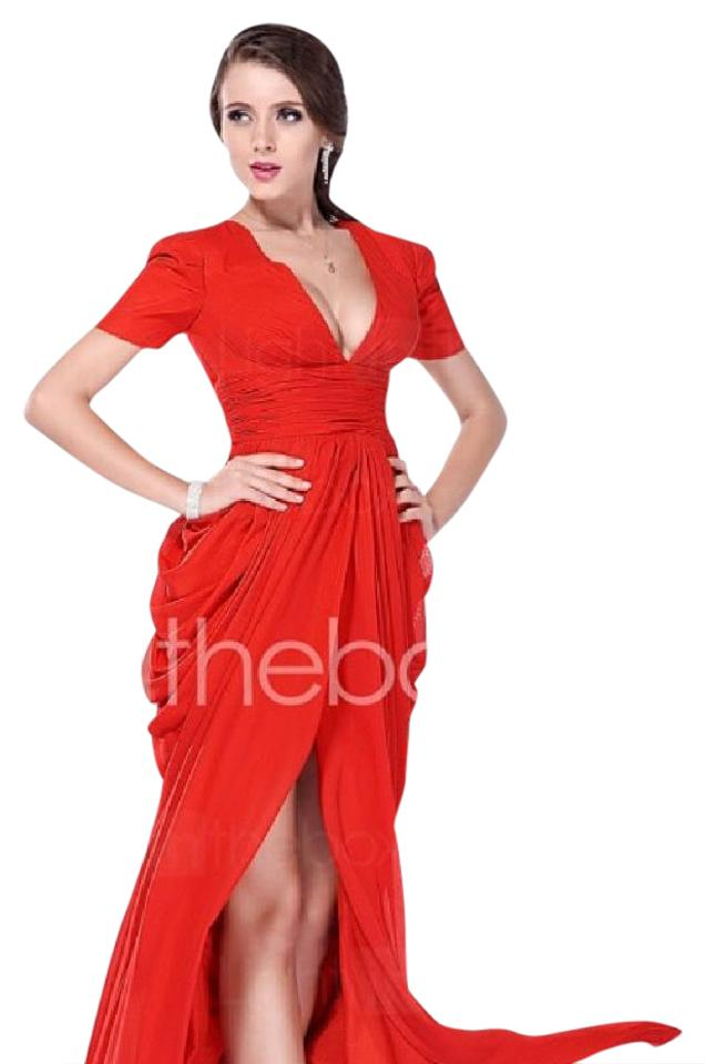 Lightinthebox Ruby Red Long Formal Dress Size 2 Xs Tradesy