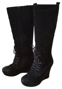 Diesel Suede Distressed Leather Black Boots
