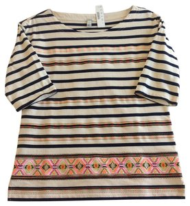 J.Crew Striped Stripes Aztec Neon T Shirt Blue, White