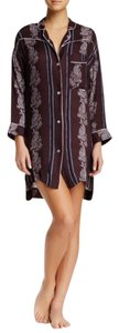Free People Button Down Shirt chocolate brown with blue stripes and white paisley print