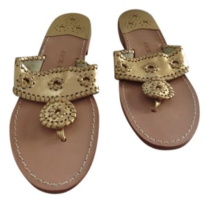 Jack Rogers Whipstitch Detail Gold Sandals