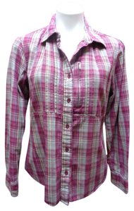 The North Face Plaid Button Down Shirt Pink