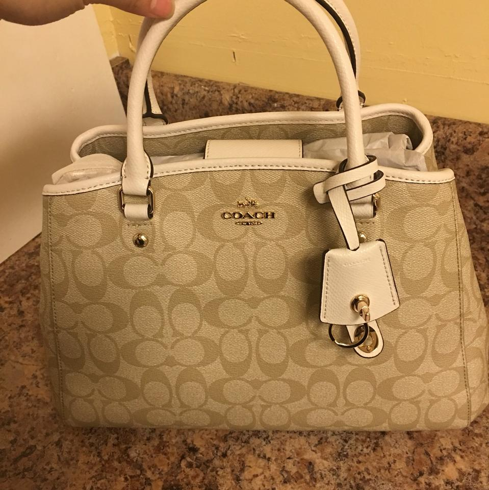 Coach Margot F34608 Small Carryall Signature Satchel Khaki Chalk In Canvas Coated Leather Trim Shoulder Bag