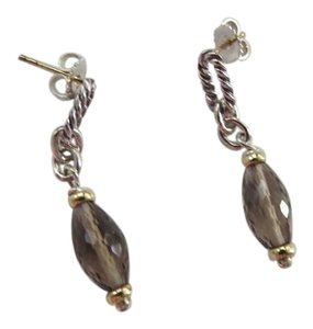 David Yurman Briolette SS/18K Smokey Quartz Drop Dangle Earrings