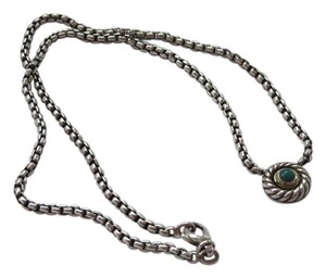 David Yurman SS/14k Yellow Green Onyx Cookie Necklace; 16