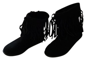 Nine West Suede Fringe Boho Chic Hippie Ankle Black Boots