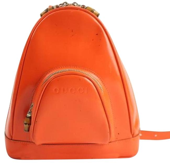 Item - Bamboo Orange-red Patent Leather Backpack