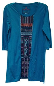 Johnny Was Boho Embroidered Floral Geometric Tunic