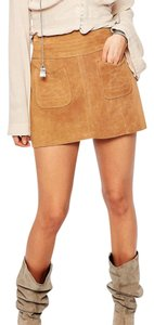 Free People Suede Mini Mini Skirt Brown
