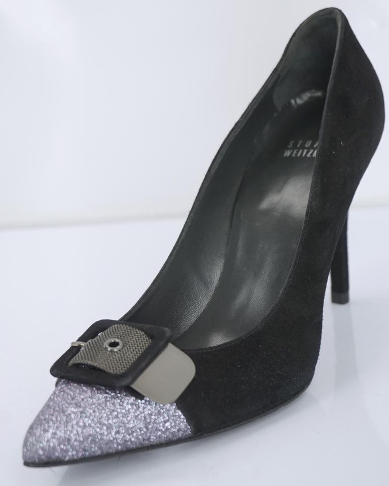 dc74fa2b0625 Stuart Weitzman Black Suede  industry  Glitter Buckle Cap Toe Pointy Dressy Pumps  Size US 7 Regular (M