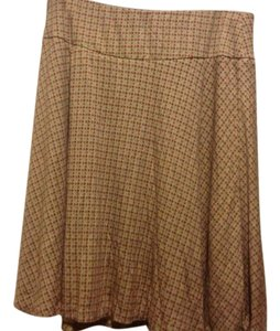New York & Company Co. Below The Knee Tan. Skirt Tan, with burgundy and olive green