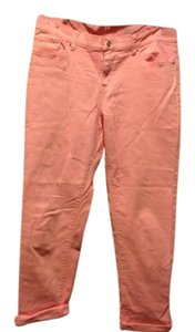 New York & Company & Co Brand Pale Peach Capris Cuffed Capri/Cropped Denim-Light Wash