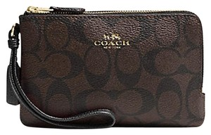 Coach Signature Double Zip Black Brown Wristlet with Gift Box