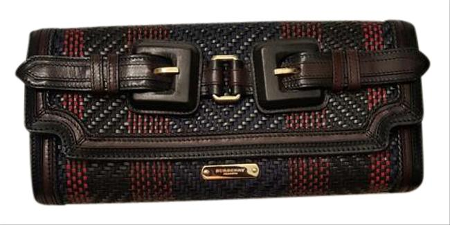 Item - Woven Leather and Cotton Black Muti Clutch