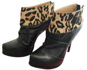 5/48 Hidden Platform Leather Calf Fur Black/Leopard Boots