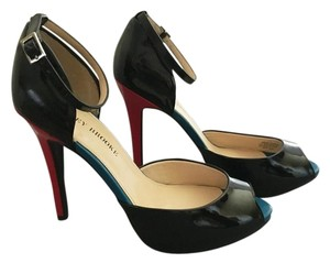 Audrey Brooke Peep Toe High Heel Black/Turquoise/Red Pumps