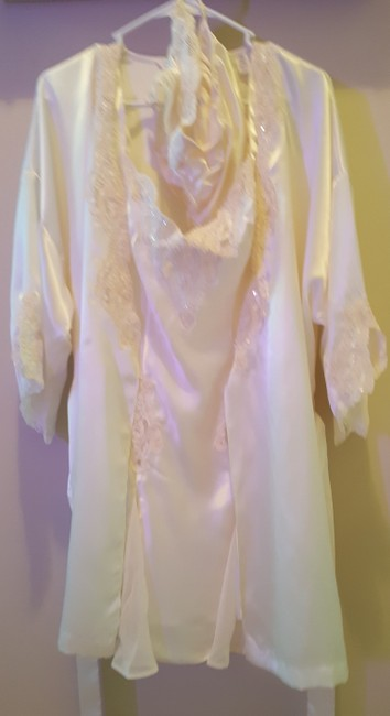 Item - Cream Wedding Night Slip with Matching Robe and Panty Set