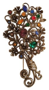 Rainbow Gemstones Fruit Salad Bouquet Antique Brooch Pin Rainbow Gemstones Fruit Salad Bouquet Antique Brooch Pin