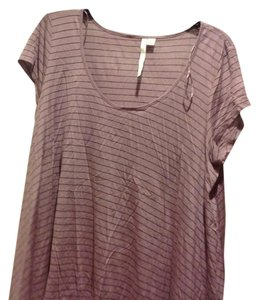 LC Lauren Conrad Swinging Like Mew T Shirt Purple pink with gray stripes